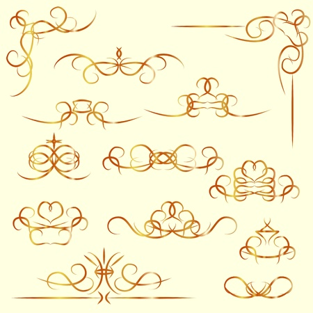 Set of isolated vintage calligraphic elements, borders and corners  Illustration