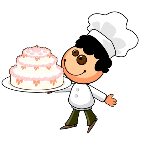 Smiling cartoon cook with big holiday cake Stock Vector - 11827660