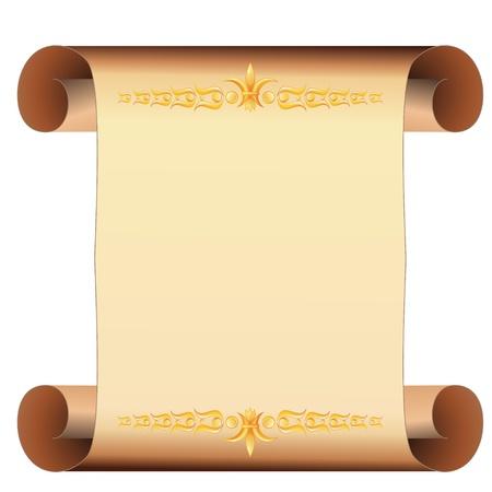 pergamino: Beige desplazado pergamino en blanco con dos franjas doradas