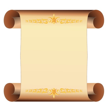 Beige scrolled blank parchment with two golden borders Vector