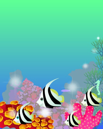 Marine background with beings of tropic sea Vector