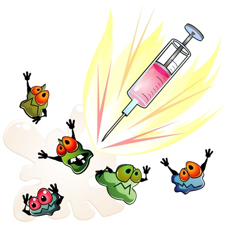 Syringe and frightened germs as concept of antibiotic Stock Vector - 11827659
