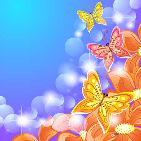 Blue bokeh background with tropic flowers and butterflies