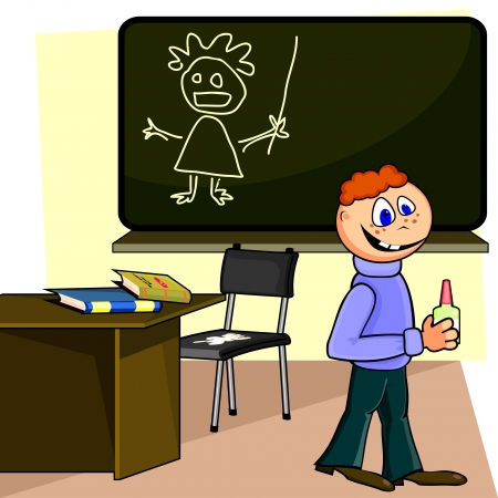 malevolent: Spiteful schoolboy in classroom with glue or white paint  Illustration