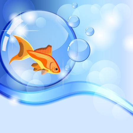Blue background with wave and fish in globe