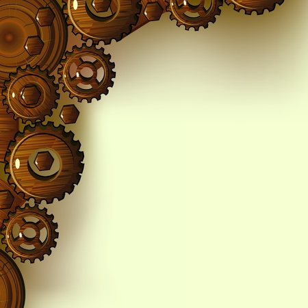 carpentry: Wooden gears and pieces of wood as frame or corner