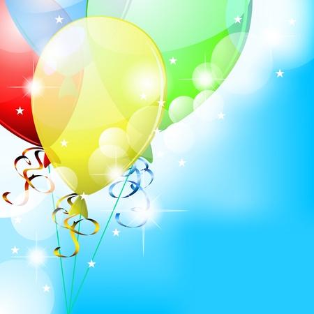 Blauwe partij kaart met kleurrijke transparante ballonnen en kleine sterren