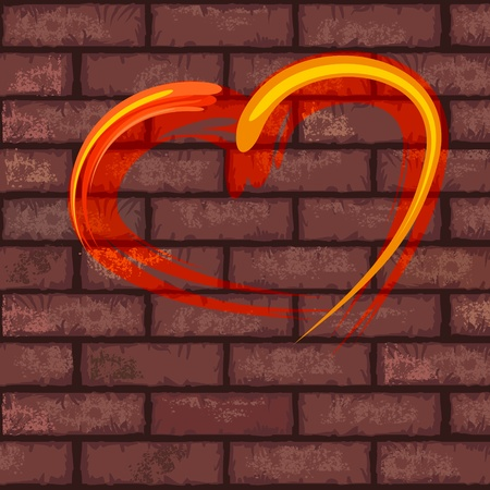 Bright red heart painted on old brick wall Vector