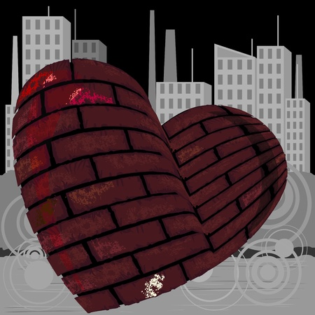 Grey urban landscape and heart made of bricks Vector