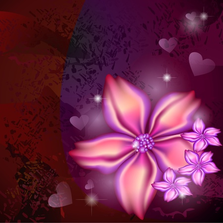Shiny flowers over dark red and purple grungy background Vector