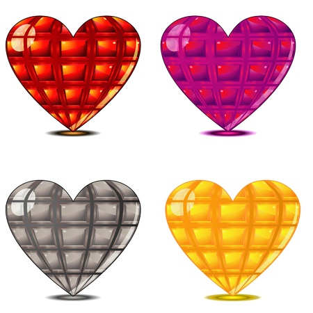 lustrous: Set of colorful glossy faceted hearts with shadows Illustration