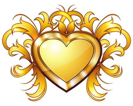 Elegant retro golden heart with golden swirls Stock Vector - 11959550