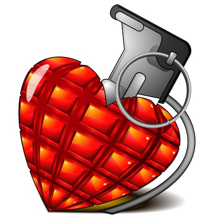 Red faceted heart with shadow as pineapple grenade Vector