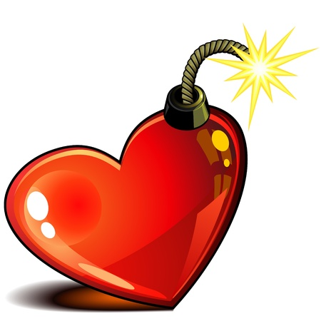 the wick: Red glossy heart with burning wick ready to explode