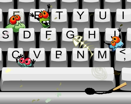 Computer keyboard with different trash and germs Vector