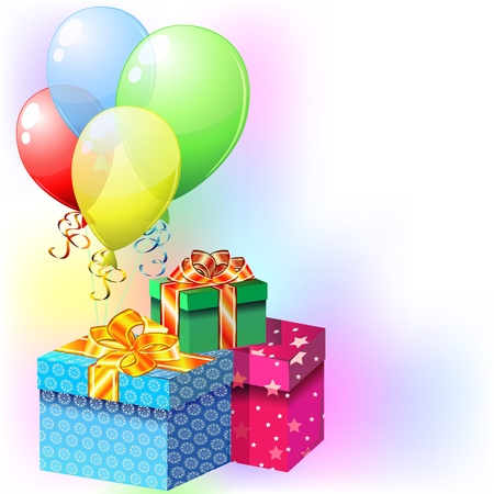 Party card with colorful balloons and gifts with ribbons and bows Vector