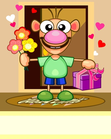 arrive: Cartoon card with funny man with flowers and gift Illustration