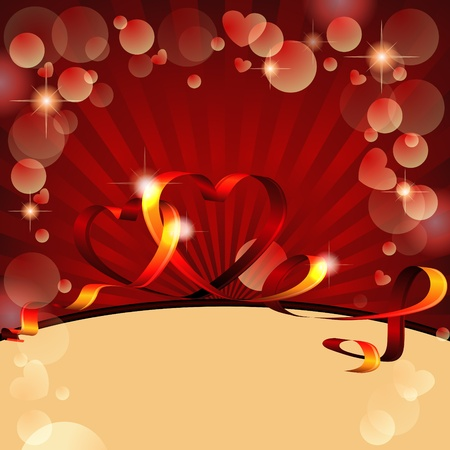 Valentine card design with two hearts made of red ribbon Vector