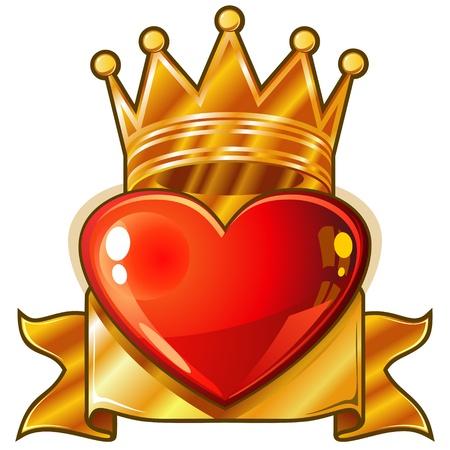 heart and crown: Cuore rosso lucido con corona d'oro regale e banner Vettoriali