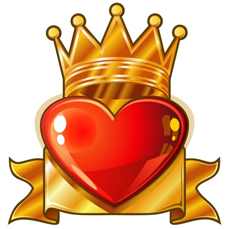 heart with crown: Red glossy heart with golden royal crown and banner