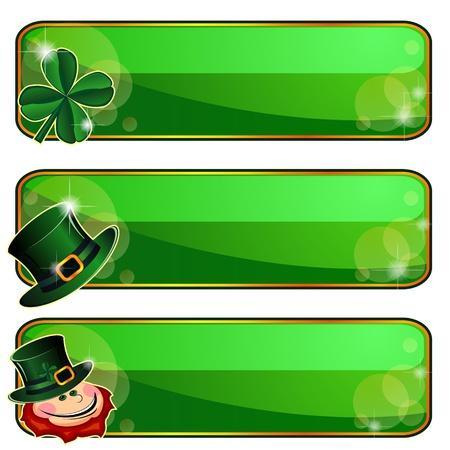 Drie groene banners met emblemen van Saint Patricks Day