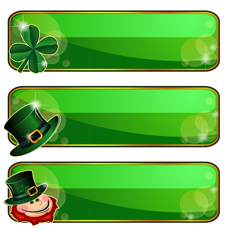 leprechaun hat: Three green banners with emblems of Saint Patrick�s Day