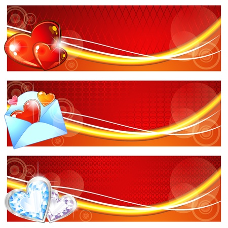 Three red valentine banners with hearts and envelope Vector