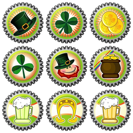 Set of nine bottle caps with Saint Patrick's Day symbols Vector