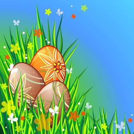 Pasen compositie met beschilderde eieren en gras Stock Illustratie