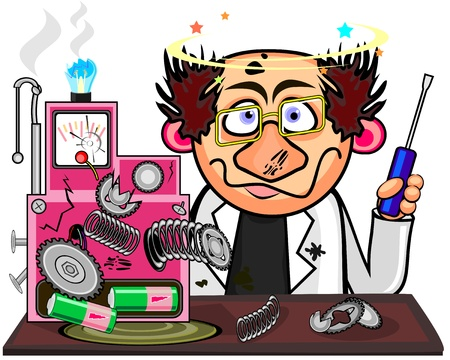 Inventor with cool hairstyle after explosion of his device  Stock Vector - 12253446