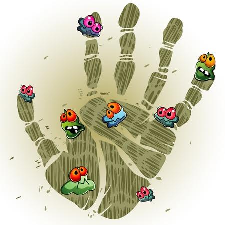 vieze handen: Afdrukken van vuile palm met cartoon ziektekiemen