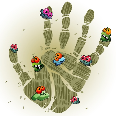 Print of dirty palm with cartoon germs Vector