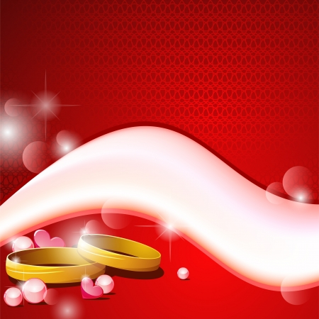 Red background with white wave and two wedding rings