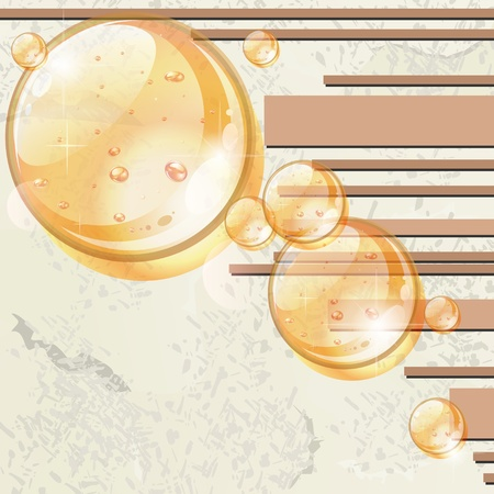 Old grungy paper with beige stripes and transparent yellow globes Vector