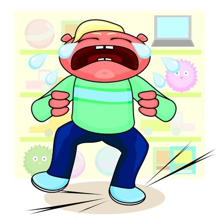 niños malos: Malestar niño llorando y gritando estante cerca con los juguetes