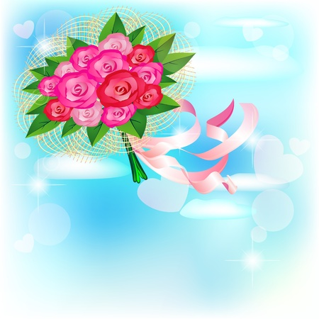 Wrapped bridal bouquet flying in the blue sky Vector
