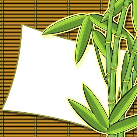 Scrapbook a dénommé la carte avec des plantes de bambou et de texture Vecteurs