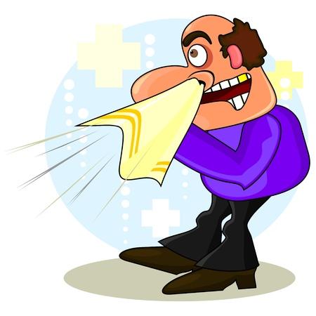 Cartoon zieke man met grote zakdoek over medische achtergrond
