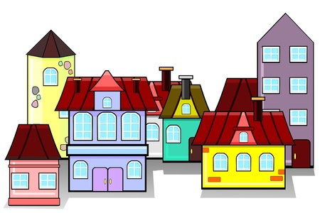 dwelling house: Old style houses as urban landscape or panorama Illustration