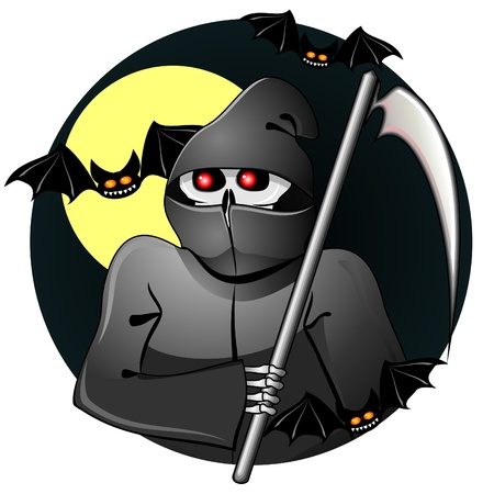 murderer: Scary grim reaper of souls with scythe and bats  Illustration