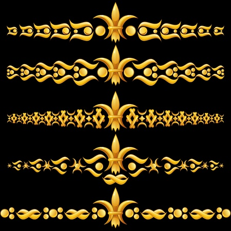 Golden dividers with fleur-de-lis Vector