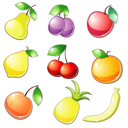 Nine glossy fruit icons Vector