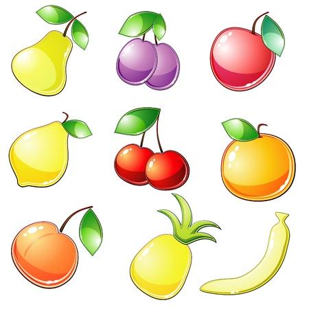 banana leaf: Nine glossy fruit icons