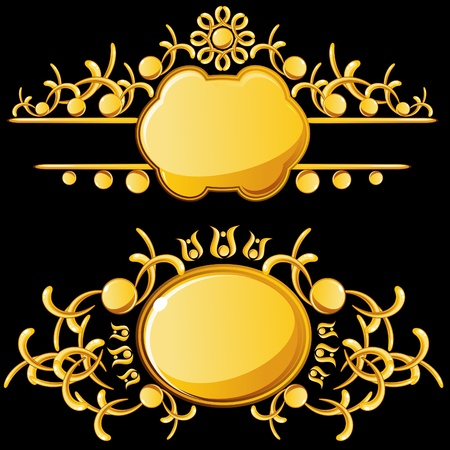 fanciful: Golden plates with copy space