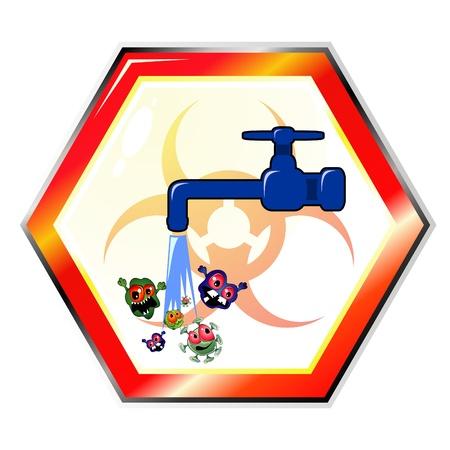 contaminacion del agua: El agua sucia se�al de advertencia
