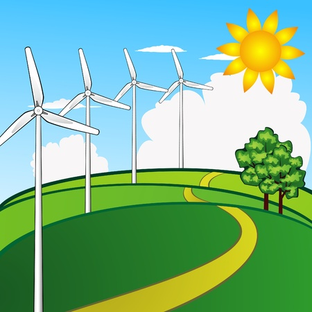 Landscape with wind turbines Stock Vector - 12492696