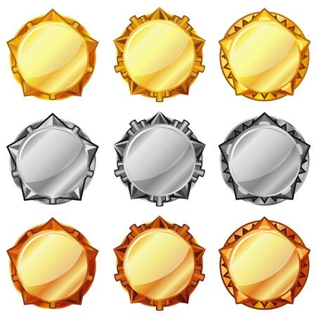 goldmedaille: Set aus drei Arten von goldenen, silbernen und bronzenen Medaillen leer Illustration