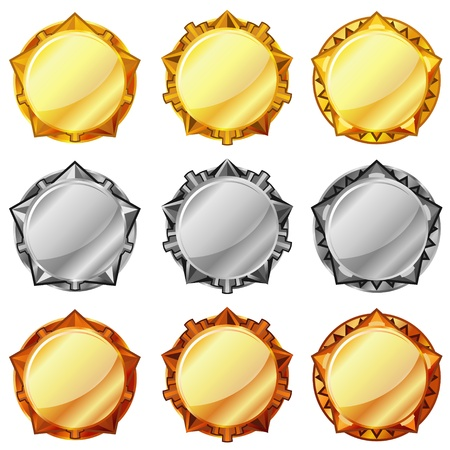 silver circle: Set di tre tipi di oro, argento e bronzo medaglie vuota Vettoriali