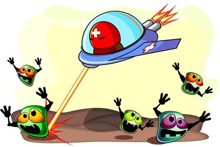 Sterke antibacteriële medicijnen aan boord van vliegtuigen te vallen bang ziektekiemen Stock Illustratie