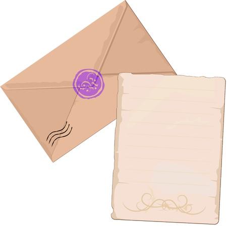 enveloppe ancienne: Vieux enveloppe brune et papier de lettre avec des lignes